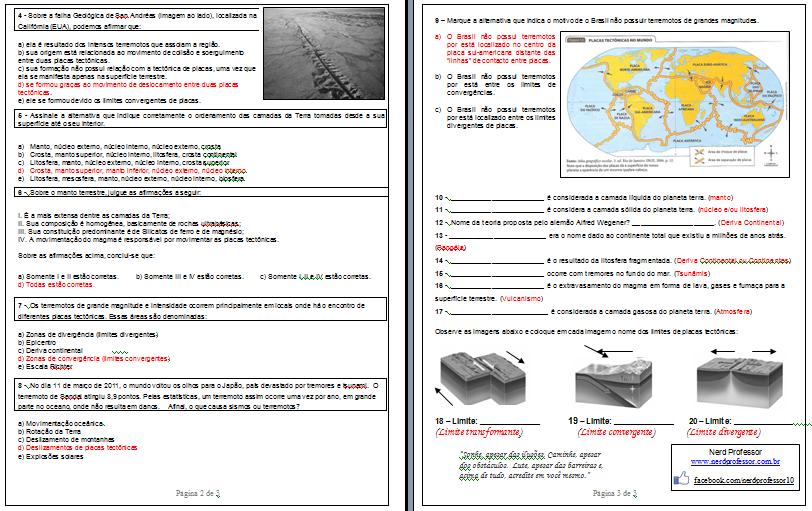 fffbb2fee5 Prova de Geografia com as tags: prova estrutura interna da terra ...